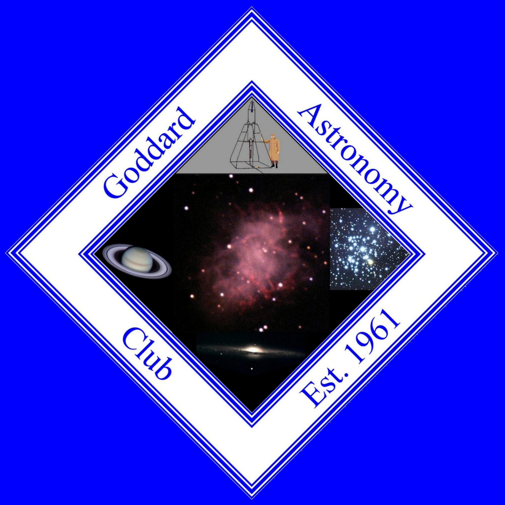 Goddard Astronomy Club logo showing the Crab nebula in the center, with a picture of Robert Goddard and his first rocket above, to the left a telescopic view of Saturn, to the right an open cluster and below, an edge on view of a spiral galaxy.